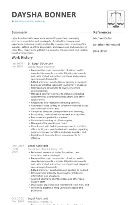 Associate Attorney Resume Sample by Legal Secretary Resume Samples Visualcv Resume Samples