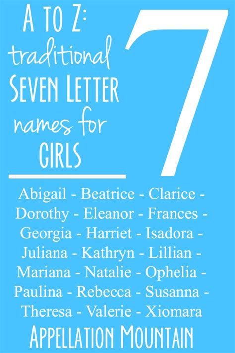 a to z seven letter traditional names appellation