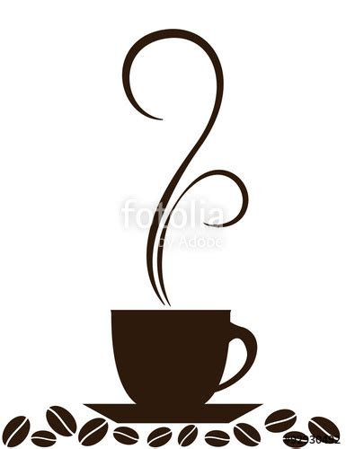 quot silhouette of coffee cup with steam and coffee beans