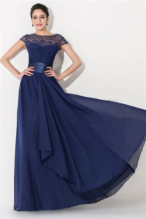 elegant chiffon lace blue long bridesmaid dress short