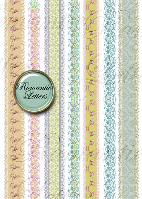 printable paper ribbon sale 40 digital scrapbook borders clipart by romanticletters