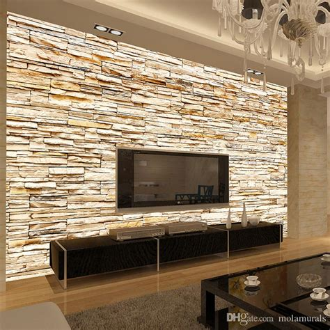 wallpaper for walls at home non woven fashion 3d stone bricks wallpaper mural for
