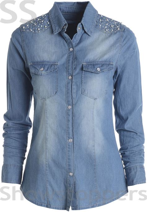 light denim shirt womens size 8 10 12 14 16 denim shirt womens light mid wash