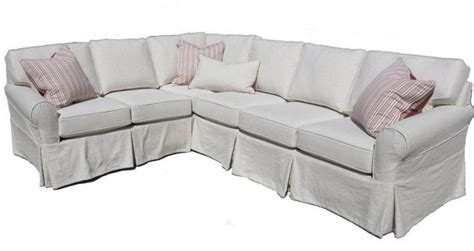 Slipcovered Sectional Sofa Washable Sectional Sofa Linen Fabric Slipcover
