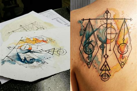 watercolor tattoos geometric libra scales geometric watercolor