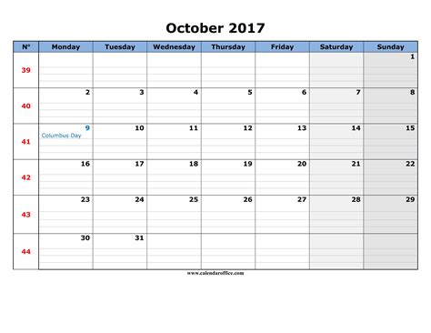 Calendar October 2017 Template Word October 2017 Calendar Templates Printable
