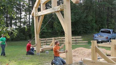 raising   timber frame picnic pavilion youtube