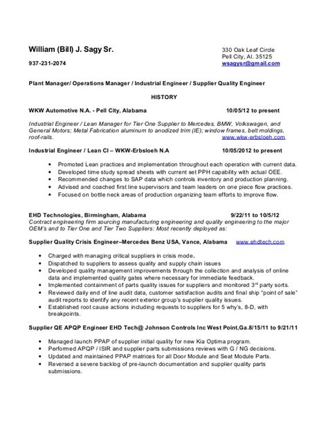 william sagy resume operations manager plant manager