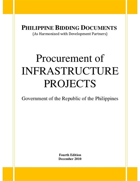 Philippine Bidding Documents Procurement Of Infrastructure Projects procurement of infrastructure projects