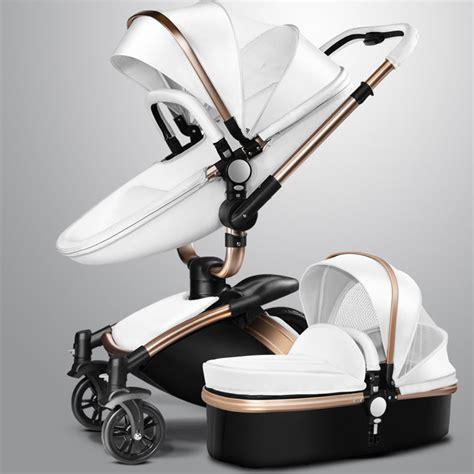 leather pushchair stroller aulon baby stroller golden frame all black leather 360