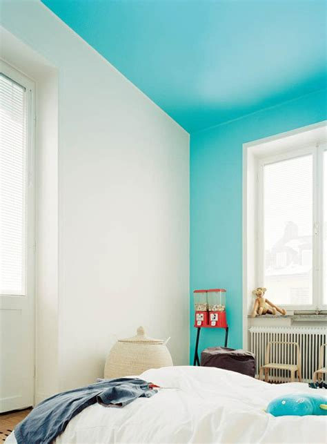 what color is ceiling paint bright blue color blocking on one wall and ceiling decoist