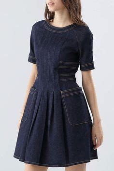 Gaun Midi Denim blue turtleneck color block cotton sleeve midi dress