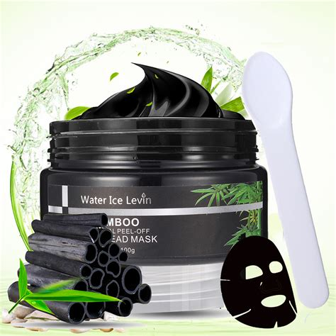 Masker Bamboo Charcoal water levin bamboo charcoal blackhead mask peel removal purifying smooth pores cleansing