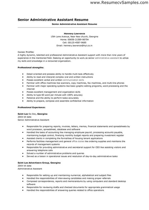 Executive Assistant Resume Template Word by Administrative Assistant Resume Template Word 2003