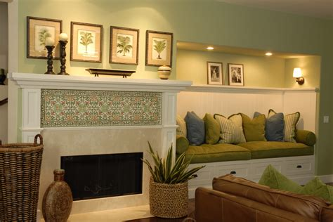 bench seating living room fireplace tiles ideas family room traditional with baskets