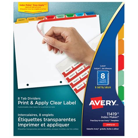 Avery Print Apply Dividers With Easy Apply Labels White With Multi Coloured Tabs Clear Labels Avery Easy Apply Label Sheet 8 Tab Template