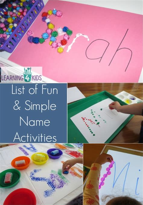 name crafts for list of simple and name activities learning 4