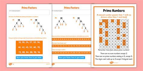 prime factors worksheet activity sheet pack key stage