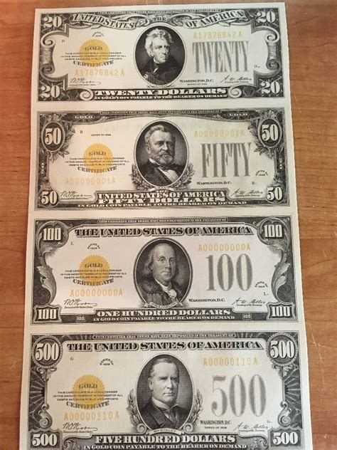 How To Make Currency Paper - copy reproduction 1928 gold seal us currency sheet