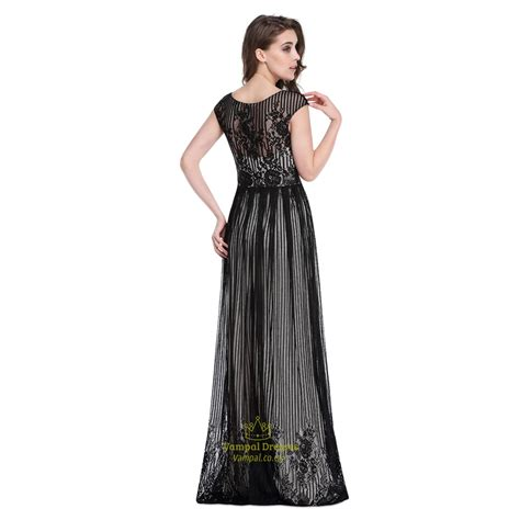floor length black dress black floor length cap sleeves prom dress with lace