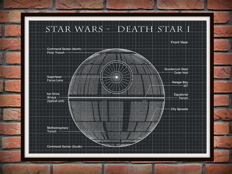 printable death star star wars death star i patent art print wall poster drawing