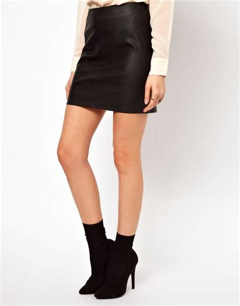 oasis leather look mini skirt in black lyst