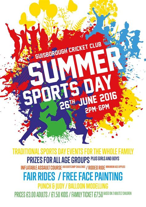 summer sports day poster guisborough cricket club
