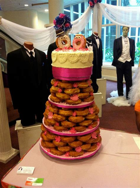 Donut Wedding Cake by A Glazed Donut Wedding Cake Made With Dunkin Donuts