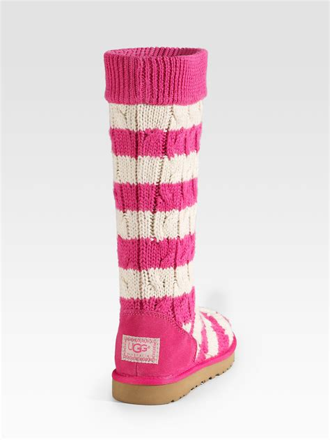 pink knitted boots ugg striped cable knit boots in pink fuchsiacream lyst