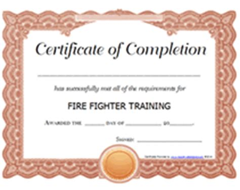 free printable firefighter training award certificate