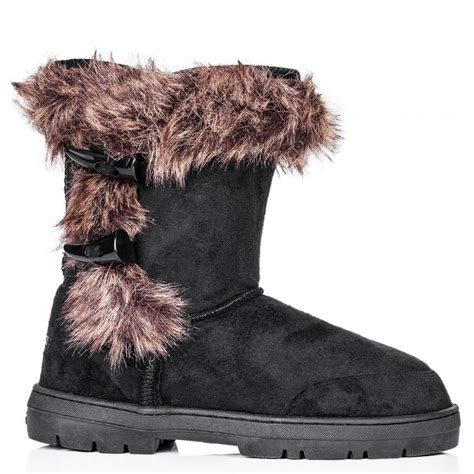 buy fairytale flat winter fur snow calf boots black suede