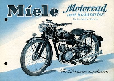 Kickstarter Motorrad by Miele Motorrad Mit Kickstarter Prospekt 1952 Nr Miele2240