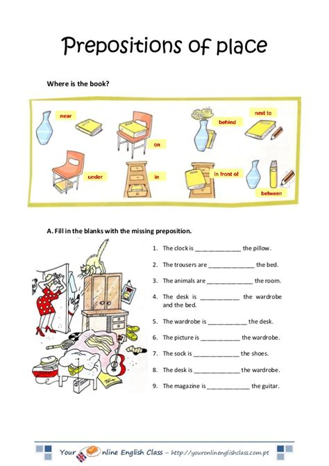 Prepositions Worksheet prepositions of place