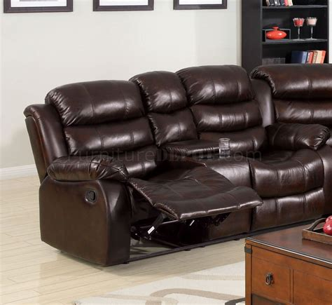 bonded leather sectional sofa with recliners winslow reclining sectional sofa cm6556 in bonded leather
