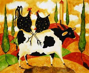 Art folk prints whimsical farm animals italy funny tuscan cow chicken
