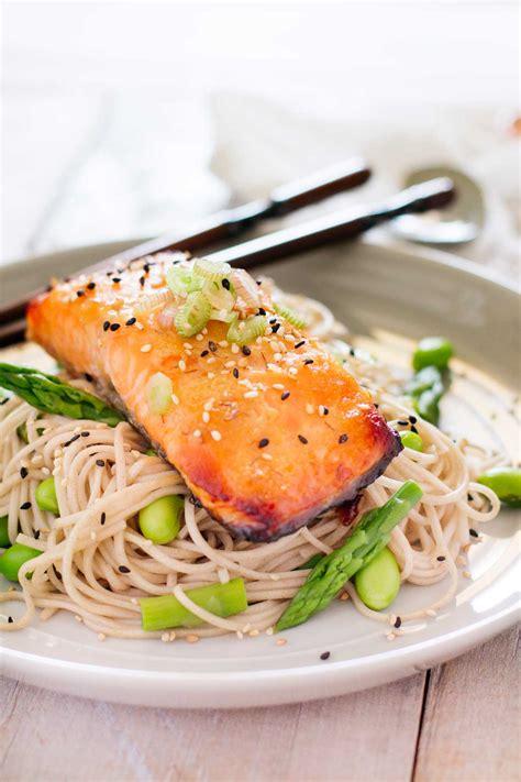 miso glazed salmon  soba noodles chopstick