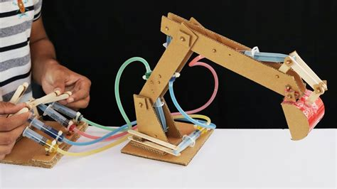 membuat robot forklift how to make hydraulic jcb from cardboard youtube