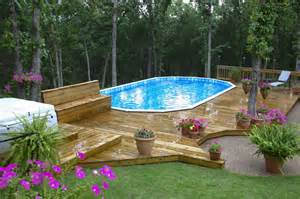 pool backyard designs awesome wooden style deck