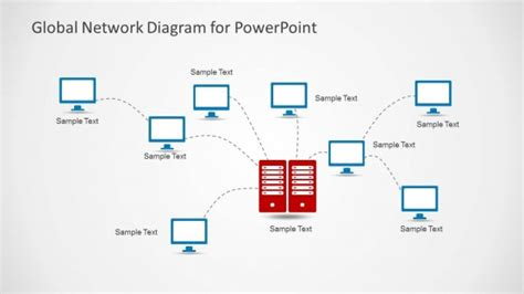 Global Network Diagram For Powerpoint Slidemodel Powerpoint Network Diagram Template