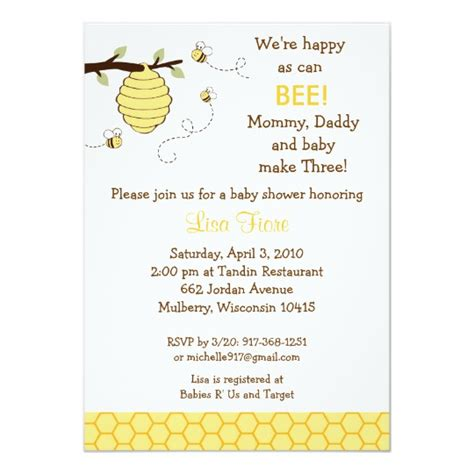 Bumble Bee Honeycomb Baby Shower Invitations Zazzle Com Bumble Bee Invitation Template Free