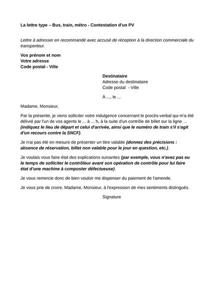 Bus, train, métro - Contestation d'un PV - Lettre type