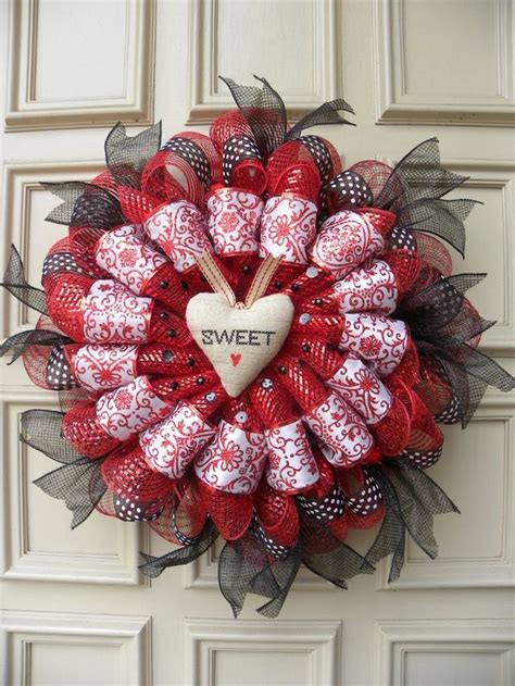 Handmade Door Wreaths - 34 best valentines day deco mesh wreaths images on