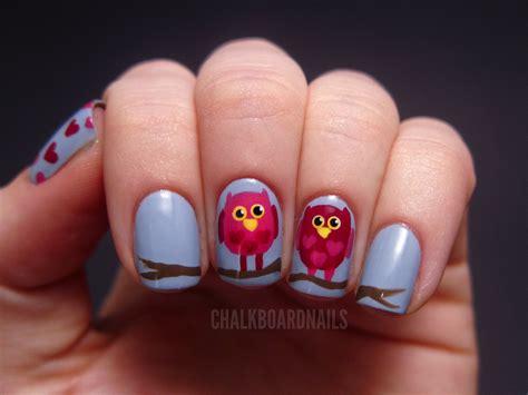 nail art tutorial valentines valentine s owl nail art tutorial chalkboard nails