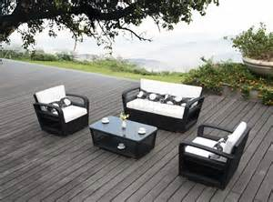 black white modern patio 4pc sofa amp chairs outdoor set w table