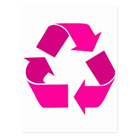 pink recycle symbol postcard zazzle