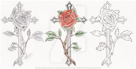 rose cross tattoo set by crystalbluedragon on deviantart