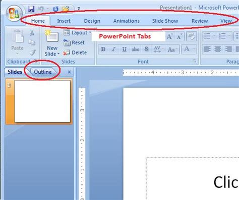 Powerpoint Outline Tab by Powerpoint 2007 Entering Text