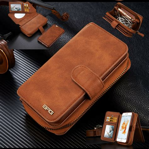 genuine leather detachable magnetic wallet card flip case cover  mobile phone ebay