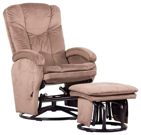 Glider Rocker With Ottoman Dezmo Push Back Recliner Glider Rocker With Free Ottoman Microfiber Fabric Brown Traditional Gliders