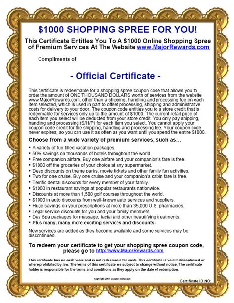 Shopping Spree Certificate Template shopping spree certificate template jazzy shopping